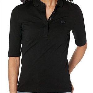 LACOSTE | Solid Black quarter sleeve polo size M